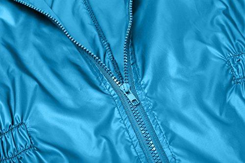 Finejo Damen Windjacke Regenjacke Regenmantel Regenparka Übergangsjacke Funktionsjacke Mit Kapuze TascheWasserdicht Atmungsaktiv Himmelblau