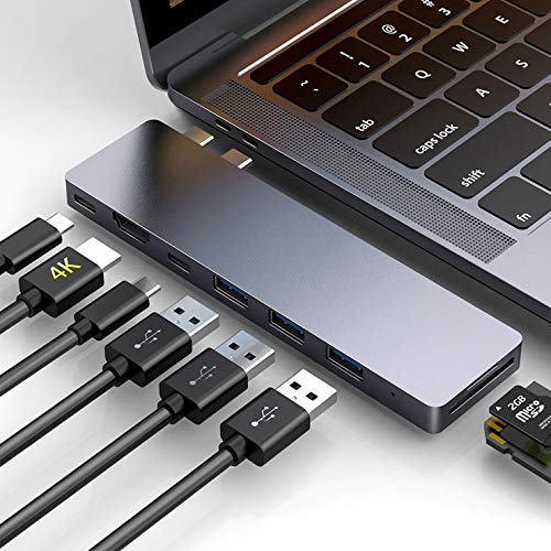 "HOTUCG USB C Hub 8 in 1, Thunderbolt 3 Hub USB C HDMI Adapter Slim Aluminium Hub für MacBook Pro 2018/2017/2016 13""&15"", MacBook Air 2018 13"", HDMI 4K, USB C 3.0 Anschlüsse, SD & TF Kartenleser, Grau"