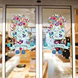 Bricolage Bienvenue Chat Coloré Chat En Verre Film Fenêtre Autocollant Transparent Opaque Décor De Vacances Pas De Colle Amovible