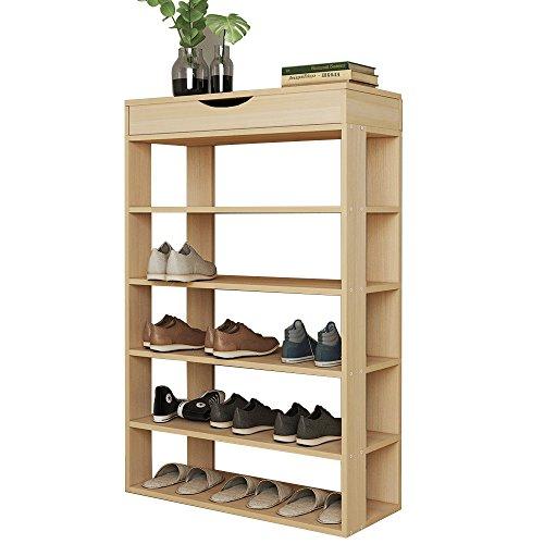 soges Schuhregal Schuhschrank Holz 5 Etagen, 75 x 24 x 94 cm Schuhablage Schuhständer Schuhregal für Wohnzimmer, Diele, Flur, Weiß Ahorn L24-MP -