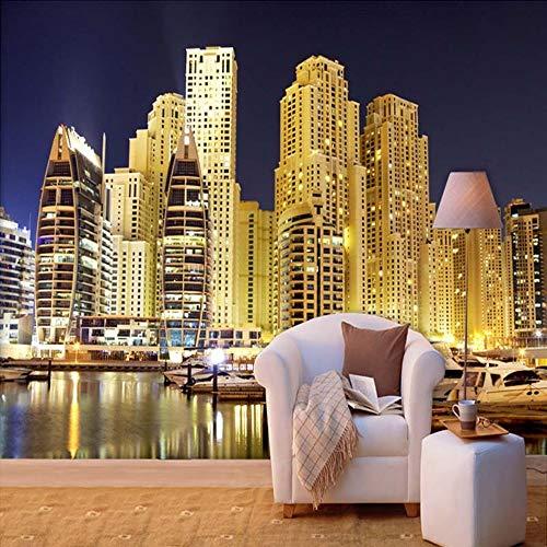 Tapeten,Dubai City Night View Gebäude Serie Eigene 4D Wallpaper Wanddekoration Hd Drucken Kunstdruck Wandmalerei Für Wohnzimmer Tv-Kulisse Schlafzimmer Hotel Einrichtung Große Wandgemälde Aus Seid Night View Serie