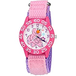 eWatchFactory Girl's 'Sesame Street' Quartz Plastic and Nylon Automatic Watch, Color:Pink (Model: W003210)