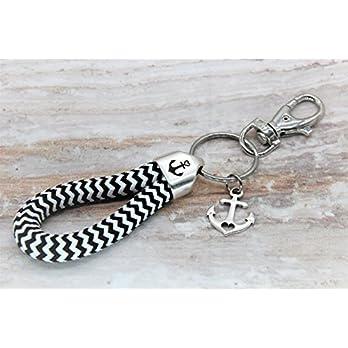 Maritimer Schlüsselanhänger Anker schwarz-weiß