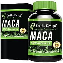 Extracto de Maca - Máxima Concentración de Extracto de Raíz de Maca - Para Hombres y Mujeres - Rico en Zinc & Magnesio - 90 Cápsulas (Suministro Para 3 Meses) de Earths Design