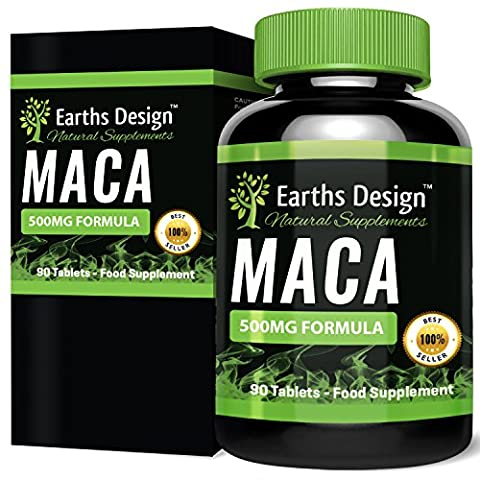 Maca Extract - Maximum Strength Maca Root Extract for Women and Men - Rich in Zinc & Magnesium - Suitable for Vegetarians- 90 Tablets (3 Month Supply) by Earths