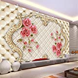 Kuamai 3D Wallpaper Modern Stereo Rose Soft 3D Wall Murals for Living Room Bedroom Sofa Tv Background Non-Woven Fabric Wall Paper-120X100Cm