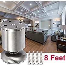 8 unidades Patas de Metal muebles armario de cocina pies redondo - Estera de goma - Caja fuerte y silenciosa 50 x 80mm