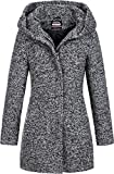 Sublevel Damen Woll-Mantel Jacke LSL-298/352 Kapuze meliert Black XL