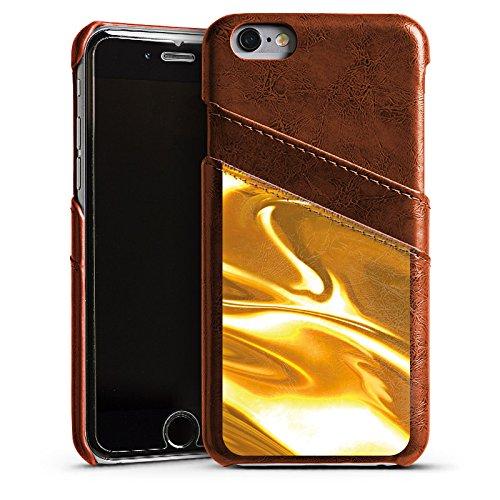 Apple iPhone 5 Housse étui coque protection Or liquide Motif Motif Étui en cuir marron