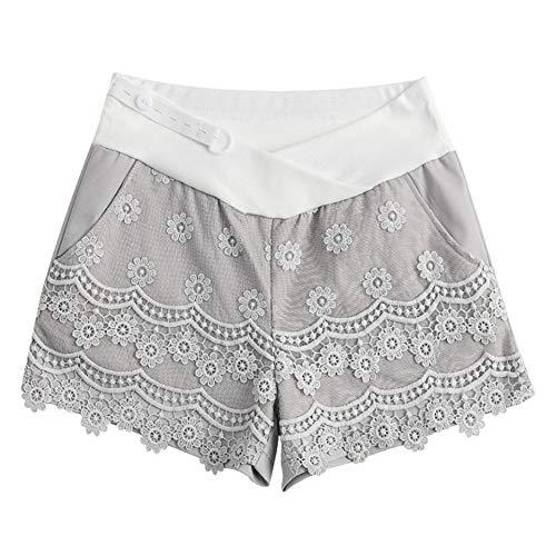 Yudesun Frauen Mutterschaft Kurze Hosen - Schwangere Damenmode Mit Niedriger Taille Stretch Baumwolle Lässig Weiche Reine Spitze Elegante Leggings Shorts Fringe-leggings