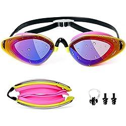 Utobest Lunettes de natation pour homme et femme, enfants, antibuée, pas de fuite protection contre les UV, Coque étanche + Pince-nez + Bouchons d'oreille (Pink)