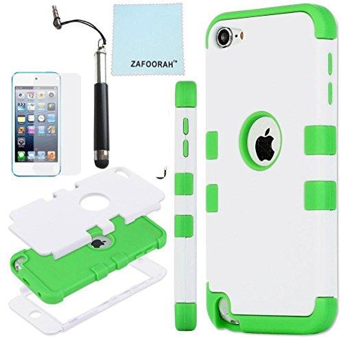 ZAFOOORAH Schutzhülle für Apple iPod Touch 5 (Silikon, Pinguinmotiv, inklusive Mini-Eingabestift, Displayschutzfolie und Mikrofasertuch), Doppelclip 3 Schichten - weiß/grün - Größe: Touch 5