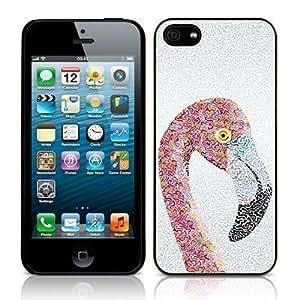 Coque Arrière Mobile Skin Motif Abstrait Flamand Rose iPhone 5 Noir Fond