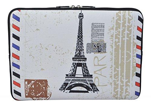 MySleeveDesign Laptoptasche Notebooktasche Sleeve für 10,2 Zoll / 11,6-12,1 Zoll / 13,3 Zoll / 14 Zoll / 15,6 Zoll / 17,3 Zoll - Neopren Schutzhülle mit VERSCH. DESIGNS - Paris Stamp [11-12]