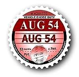 """""""1954 Vintage Year a disco Portabollo per auto-adesivo per auto o moto, Scooter, montaggio esterno, 75 x 75 mm"""
