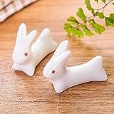 asentechuk® 5x Creative Keramik Cute Kaninchen Essstäbchen Halter Löffel Gabel Messer Halter Ständer Küche Gadgets