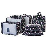 LUVODI Kit de 7 Organisateur de Valise Sacs Rangement pour Vetements Packing Cubes Voyage 3 Cubes d'emballage de Voyage + 3 Pouches de Compression + 1 Sac de Chaussures - Flamant