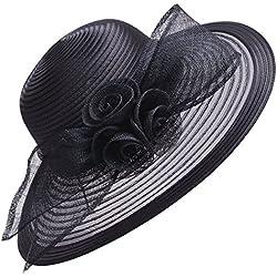 Sombrero de ala ancha de Lawliet para mujer, formal, para bodas, iglesia, el derby de Kentucky, el Royal Ascot Negro Back Talla única