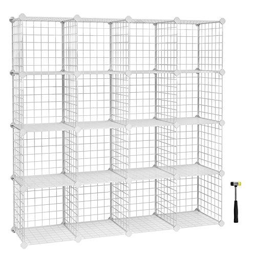 Songmics scaffale portaoggetti a 16 cubi in rete metallica, armadio modulare fai-da-te, ripiani in rete, bagno, lpi44w