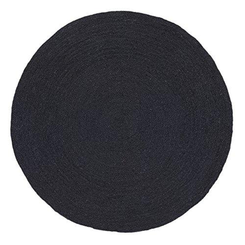 HAMID Alfombra Yute Alhambra Color Negro- Alfombra Redonda 100% Fibra