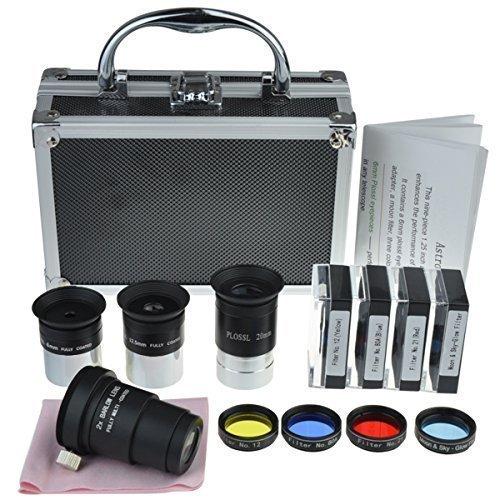 Solomark Kit di accessori per telescopio astronomico con set di lenti oculari Plossl set di filtri 2 lenti di Barlow e altri strumenti