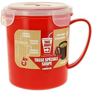 Promobo -Bol Tasse à Soupe Spécial à Transporter Take Away rouge