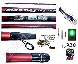 kit canna pesca ninjia bolognese 7m + mulinello + accessori