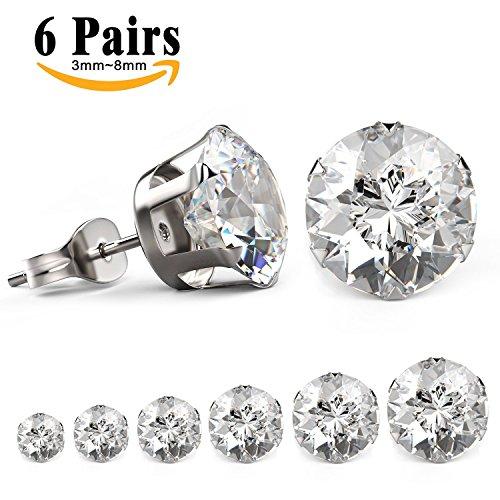 LIEBLICH 6 Paia Orecchini a uomini e donne zirconia cubico a forma di diamante Acciaio Inossidabile Stallone Orecchini Cubica Zircone 3mm-8mm