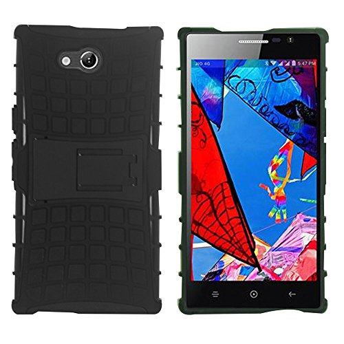 Heartly Flip Kick Stand Spider Hard Dual Rugged Shock Proof Tough Hybrid Armor Bumper Back Case Cover For Reliance Lyf Wind 4 - Rugged Black