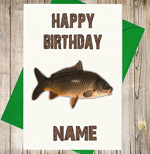 Angeln/Karpfen Fisch 2Personalisierte Geburtstagskarte–Jeder Name und Alter