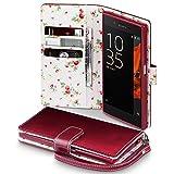 Sony Xperia XZ Cover, Terrapin Handy Leder Brieftasche Case Hülle mit Kartenfächer für Sony Xperia XZ Hülle Rot mit Blumen Interior