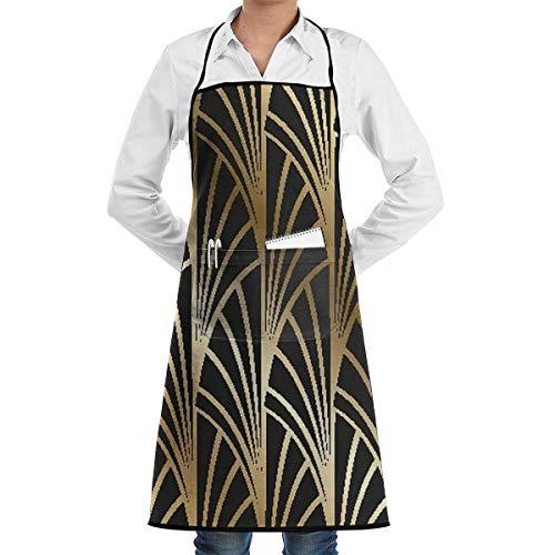 Ameok-Design Art-Deco-Schürze, Unisex, mit Taschen, verstellbar, für Kochen, Backen, Basteln, Gartenarbeit und Grillen -