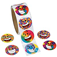 Amaoma Smiley Face Stickers Large Rainbow Happy Face Circle Dot Stickers Funny Toy Sticker Special Decorative Stickers Round Colorful Smiley Face Happy Stickers for Teachers Children 1 Roll 100Pcs