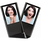 Black Acrylic Film Strip Standing Wallet Size Photo Frame Holds Two 2.5 X 3.5 Photos