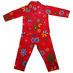 Malvina Assorted Printed And Color Cotton Full Sleeves Night Suit for Kids (3-4yrs)