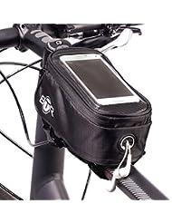 BTR–Alforja para bicicleta (Large) con Smartphone Soporte para tubo superior
