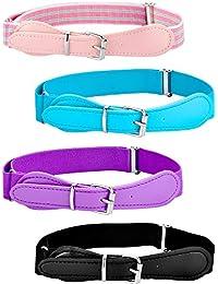 4 Piezas de Cinturón Elástico Ajustable de Niños con Cierre de Cuero para Niñas y Niños, Colores Variados