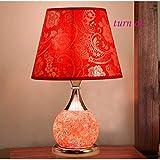DEE Lights - Creative Dekorative Tischlampe Europäischer Stil Tischlampe Schlafzimmer Nachttischlampe Doppelschalter Dimmbare Glasfernbedienung Kleine Lampe Lernen Leselampe,D-Dimmer-Schalter