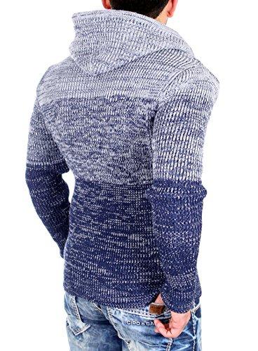 Reslad Strickjacke Herren Colorblock Kapuzen-Jacke Cardigan Winter-Jacke RS-3109 Dunkelblau