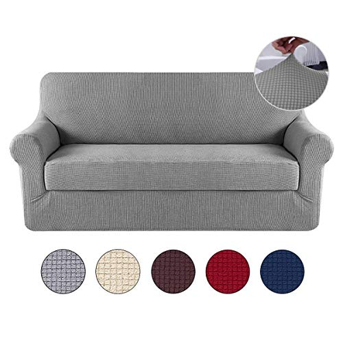 Umiwe Elastic Sofa Cases, 2 Sillon Cover 3 Sofa Cover Places 4 Squares Seats Dark Gray Burgundy Navy Saver Sofa Saver Sofa for Dog Dog Colors (Gray, 3 Squares)