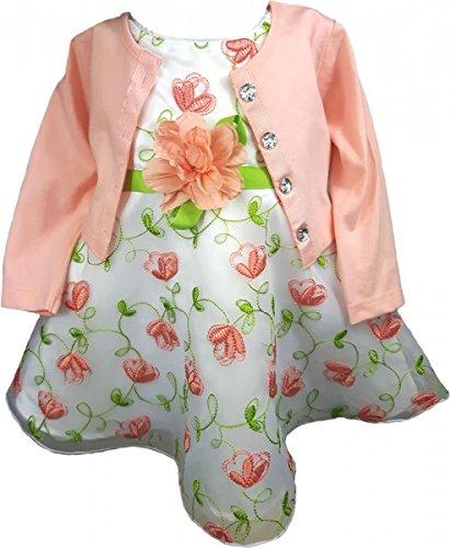 Youngland Traumhaftes Petticoatkleid + Jäckchen + Windelhöschen in weiß/lachs Gr. 74,80,86 Größe 86 - Mädchen Outfits Youngland Für