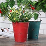 New Pure Handmade RetroTin Bucket Colorful Flower Pot Barrels Succulents Planters Pots Hanging Home Garden Decoration B