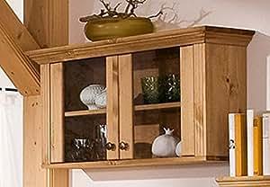 vitrine en bois de pin huil armoire suspendue cong lateur cuisine maison. Black Bedroom Furniture Sets. Home Design Ideas