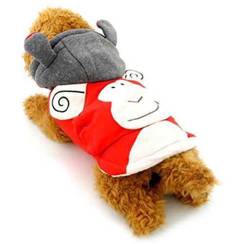 zunea Kleiner Hund Kleidung für weiblich männlich Hoodies Hundemantel Winter Affe Kostüm Kapuzenanorak mit Baumwollfutter - Hoodies Männliche