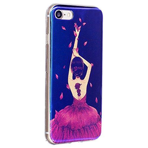 Pour Apple IPhone 7 Plus Shell Case, ultra léger léger, luxueux, bleu, lumière, TPU, silicone, gel, protection arrière, couverture ( Color : G ) A
