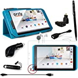 "ORZLY® - TESCO HUDL 2 DELUX 10-IN-1 MULTI ACCESSORY BUNDLE - Comprising: 1x BLUE PropUp Stand Case with Orzly Stylus Pen and Pen Loop + 1x Dangly Mini Stylus (clips to headphone jack) + 2x Screen Protector Guards with Cleaning Cloth - Also Includes: Inner Ear Headphones + HDMI and OTG Cable with USB to MicroUSB Adapters and In Car Charger - Tablet Covers designed by ORZLY® exclusively for Tesco Hudl2 8 Inch Tablet (Tesco's new 8"" Tablet - Released in 2014)"