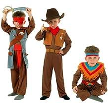 Cesar - Pack 3 disfraces de vaquero, indio y pirata para niño (de 5/7 años)