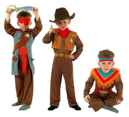 (Cesar Q728–002–Kostüme–3in 1Jungen COW BOY/indischen/Pirat Kleiderbügel–8/10Jahre)