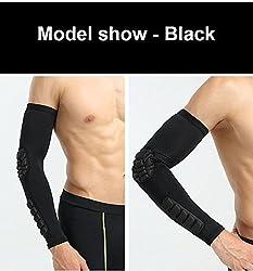 HB011 Black, L : New Elbow Pads Protector Cotovelo Vlei Basquete Apoio para o punho Brace Guarda Elstica Segurana Esporte Arm Sleeve Warmer Pad 1 Pcs Um