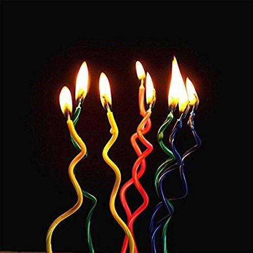 Gifts 4 All Occasions Limited SHATCHI-1079 RGRP - Vela en espiral para tarta (8 unidades), diseño de espiral, multicolor